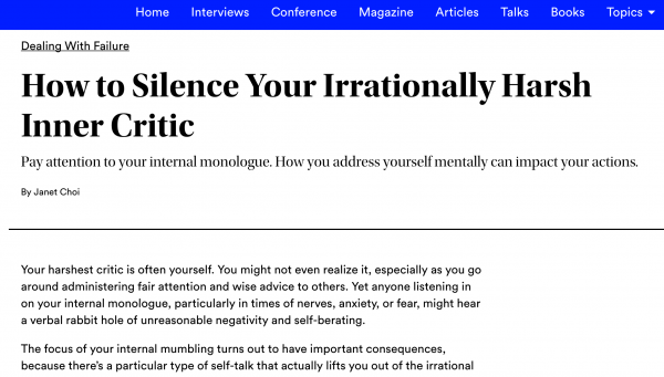 How to Silence Your Irrationally Harsh Inner Critic