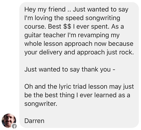 Speed Songwriting Lyric Triad Testimonial